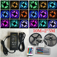 Led Strip Light SMD 3528/5050 Flexible RGB  Strip Lights IR Remote + 12V Power