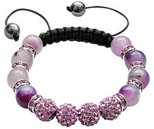 Shamballa Bracelet with Glass Stone Beads and CZ Crystals - FREE Velvet Bag