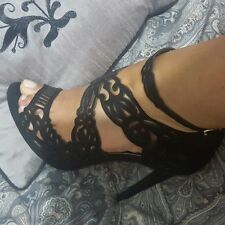 ZARA Black Openwork Leather Sandals With Heel Sold out Bloggers ALL SIZES