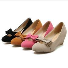 Womens Fuax Suede Bowknot Slip On loafer Wedge Heels Lolita pumps Dress OL Shoes