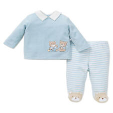 Little Me Boys 2 Piece Blue Bear Embriodered Top and Footed Pant Set