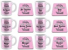 You Are Simply The Best In The World Novelty Gift Mug with Coaster - Pink Titles