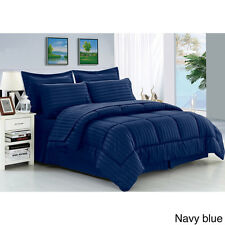 8pc Bed In Bag Hotel Comfy Dobby Embossed Comforter Set (Navy) - Queen & King