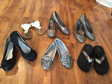 Girls Easter Dress Shoes Flats Shimmer silver,black,white flip flops sz1 2 3