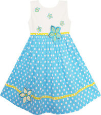 Girls Dresses White Dot Blue Embroidered Flower Party Kids Clothes Age 2-6 Years