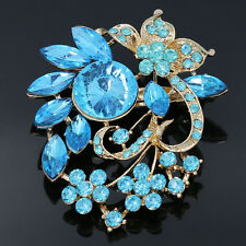 Fashion Purple Crystal Rhinestone Flower Women Brooch Pins