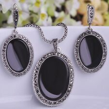 Antique Silver Plated Oval Red Color Necklace Earrings Set For Women ET0414