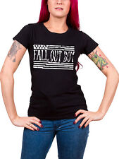 Fall Out Boy T Shirt US Flag band logo new Official Womens Skinny Fit Black