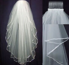 New Handmade White/ivory Wedding Bridal veil elbow Length Satin Edge with comb