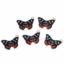 Black Butterfly 20mm Wholesale Gold Plated Enamel Charms C2586 - 2, 5 Or 10PCs
