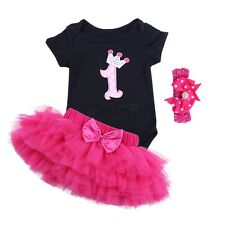 3PCS Baby Girls 1st Birthday Party Romper Bodysuit Tutu Dress Outfit Set 3-18 M