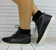 WOMENS BLACK FAUX LEATHER SUEDE HI TOP ANKLE TRAINERS LACE UP ANKLE BOOTS 4 , 5