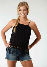 Roper Turquoise Cove Ladies Black Polyester Cropped Sleeveless Tank Top