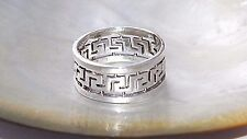 New Solid.925  Sterling Silver Band Ring with Greek Design size 10.5 ,size 12.5