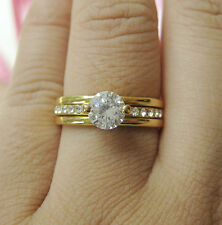 Size 6-9 Channel set lady's white sapphire cz 10kt white gold filled GF ring