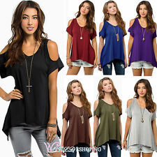 Plus Size Womens Cold Shoulder Casual Loose Tee Top Short Sleeve Blouse T-shirts