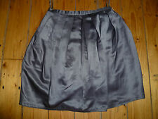 TOPSHOP UK6 LADIES GREY SATIN LOOK SKIRT FULLY COTTON LINED GOOD CONDITION