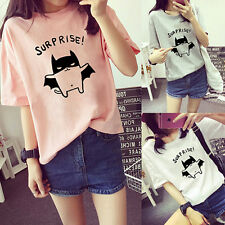 Women's Bat Printed Loose Summer T-Shirt Short Sleeve Blouse Tops Tee Showy