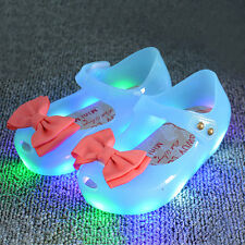 Kids Girls Toddler Luminous Flat Jelly LED Shoes Bow Princess Sandals Shoes