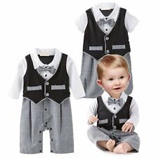 Baby Boy Wedding Christening Tuxedo Formal Suit Outfit Clothes Romper 3-18M