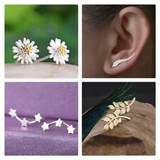CRYSTAL RHINESTONE FLOWER LEAF STAR EAR CLIP CUFF STUD EARRINGS GOLD SILVER UK