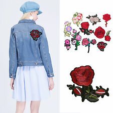 1Pcs/11Pcs Embroidered Sew Iron on Patch Badge Rose Flower Bag Hat Applique