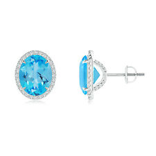 Natural Oval Blue Topaz Stud Earrings with Diamond Halo 14k White Gold