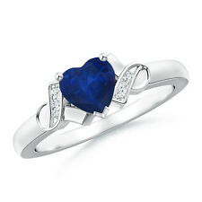 Solitaire Heart Natural Blue Sapphire Diamond Accents Ring 14k Gold/ Platinum