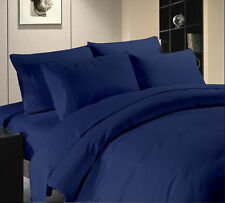 NAVY BLUE SOLID ALL BEDDING ITEMS 1000TC 100%EGYPTIAN COTTON US-FULL SIZE