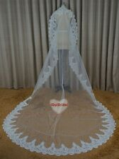 New Cathedral Length Lace Edge Bride Wedding Bridal Veil Long Trails Accessories