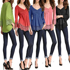 Women Ladies Lace Shirts Casual Long Sleeve Loose Blouses T Shirt Tops Plus Size