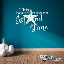 This House Runs On Island Time Vinyl Wall Decal beach quote with starfish L131