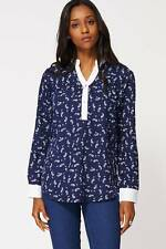 Ladies Navy Blouse With Mandarin Collar Womens Smart Long Sleeve Office Top NEW