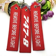 """5PCS """"Remove Before Flight"""" Red Key Ring Luggage Tag Label Keychain Embroidery"""