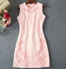 K2017 occident pink pretty party lady dress Hollow embroidery hot sale S~XL