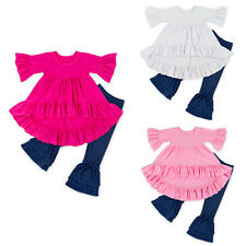 Baby Girls Outfit Ruffle Top Denim Leggings Pants Outfits