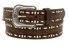 Ariat Western Belt Mens Leather Floral Embossed Ivory Laced Brown A1028202