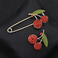 Cherry Blossom Brooch Red Dual Red Cherry Jacket Hat Collar Pin Fruit Safety Pin