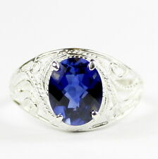 Created Blue Sapphire, 925 Sterling Silver Ring-Handmade, SR083