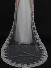 New 1T 3M Ivory / white Lace Edge Cathedral Length Wedding Bridal Veil with comb