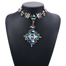 luxury crystal pendant chain choker chunky statement bib collar necklace jewelry