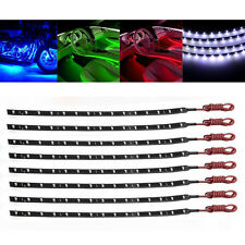 8pcs Waterproof 30cm 15 SMD 3528 LED Flexible Strip Blue Light Car Lamp 12V New