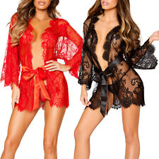 Women Sexy Lace Dress G-string Lingerie Sheer Babydoll Sleepwear Nightdress Robe