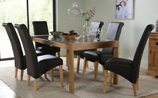 Tate 180cm Oak and Glass Dining Table and 4 6 8 Richmond Chairs Set (Brown)