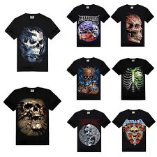 Black 3D Skull Print Short Sleeve Summer Punk Casual Men Rocker Fashion T-shirt