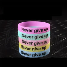 2XUnisex Glow in Dark Never Give Up Rubber Silicone Wristband Wristband Bracelet