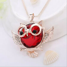 Chain Hot Pendant Round shape Vintage  Owl  necklace 2016 Statement Rhinestone