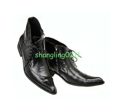 US Size 5-11 Black Leather Lace Up Formal Dress Ankle Boots Mens Fashion Shoes