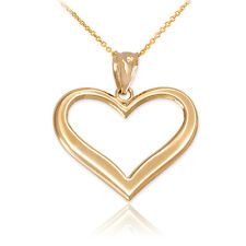 Fine 10k Yellow Polished Gold Open Love Heart Pendant Necklace