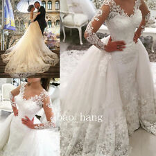 Mermaid Lace Wedding Dress +Detachable Skirt Long Sleeves Bridal Gowns Beads New
